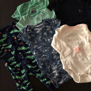 3-6 Mo alligator dinosaur romper onesie bundle